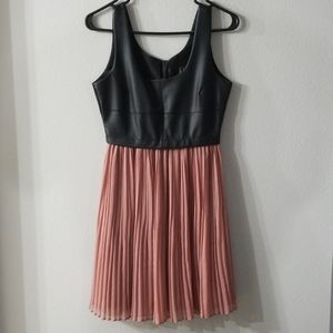 BB Dakota Faux Leather Chiffon Dress